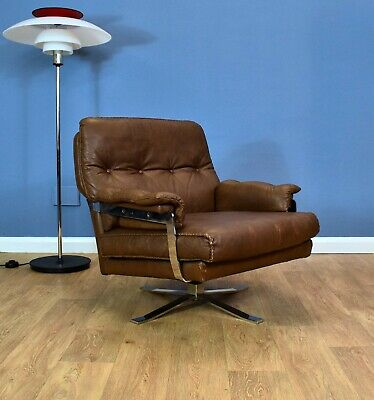 Mid Century Retro Swedish Brown Leather Arne Norell Swivel Lounge Arm Chair 70s