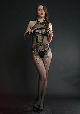 Cindylove The Jennifer Body Stocking with Open Gusset High Lace Neckline