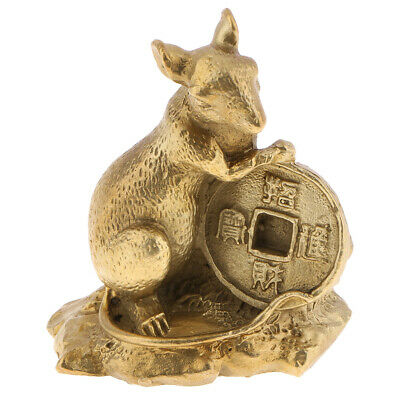 LUCKY Wealth Chinese Zodiac Animal Statue Rat Figurine Model Fengshui Decor.