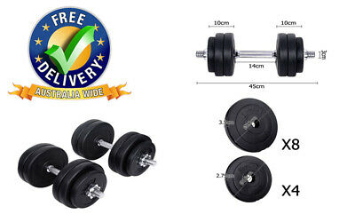 Everfit Fitness Gym Exercise Dumbbell Set High Quality Steel 18cm, 22cm 30kg