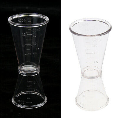 Clear Plastic Cocktail Double Jigger Wine Shot Glass Drink Measuring Cup