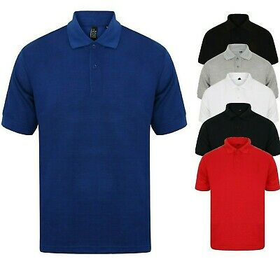 Mens Polo Shirt Plain Shirts Pique Tee New Golf Work Casual Cotton Blend