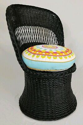 Mid-century wicker scoop chair with cushion Eames atomic retro bohemian vintage
