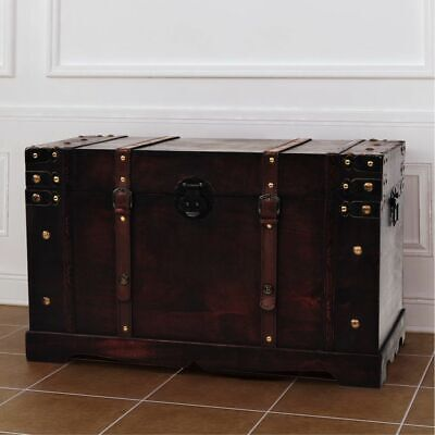 NEW Vintage Treasure Chest Wood Brown Storage Cabinet Box Trunk 66 x 38 x 40 cm
