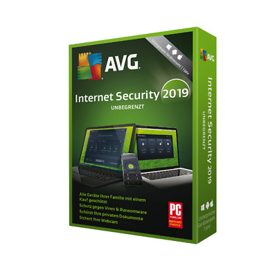 AVG Internet Security 2019 UNBEGRENZT PC GERÄTE 2 Jahre Android Mac Tablet