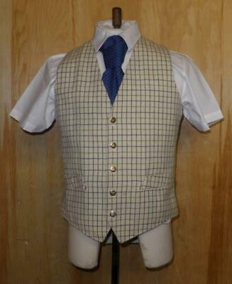 """Vintage Gents 38"""" Wool, Cream Check Hunting Waistcoat - Patterned Lining & Back"""
