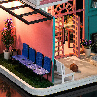 Handmade 3D Wooden Miniatures Doll House Pink Cafe Dollhouse Furniture Diy