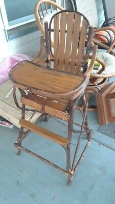 Amish Made in USA Unique Vintage style Rustic Wooden High Chair