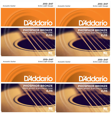 4x D'Addario EJ15 Acoustic Guitar Strings Full Set Extra Light Gauge 10-47