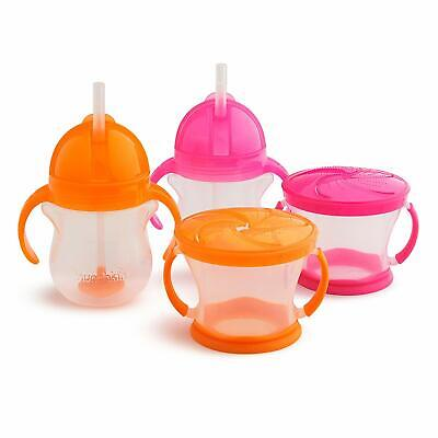 Munchkin Happy Snacker Snack Catcher and Sippy Cup Set, 4 Count, Pink/Orange