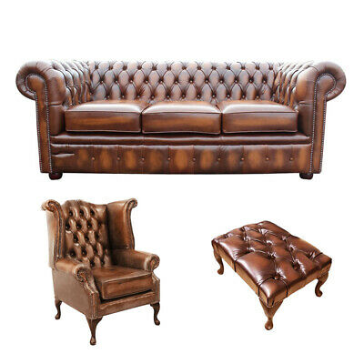 Chesterfield Sofa/Suite 3 Seater+ Queen Anne Wing Armchair+Footstool Antique Tan