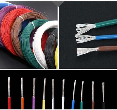 0.05-1.5mm² PTFE Silver-plated Copper Cable Stranded Wire Hookup 200°C Coloured
