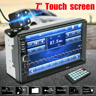 7'' 2-Din Touch Screen Car MP5 Player Bluetooth Stereo FM Radio HD Rear Camera
