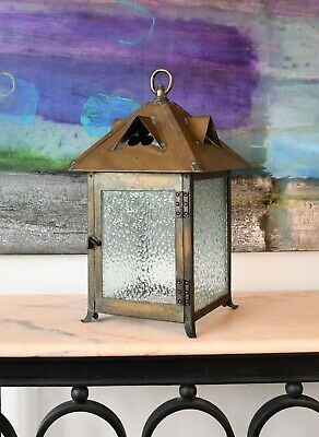Early 20th C Arts & Crafts Brass Glass Porch Hall Side Table Lamp Light Lantern