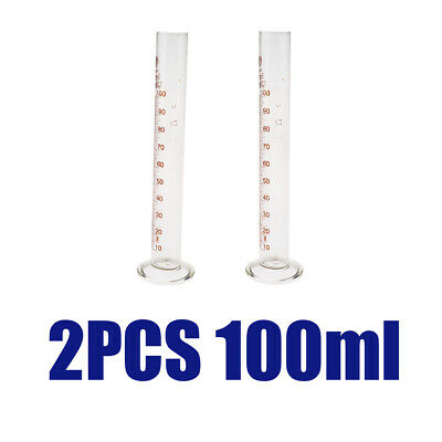2PCS 100ml Glass Measuring Cylinder Chemistry Lab Spout Measure Borosilicate