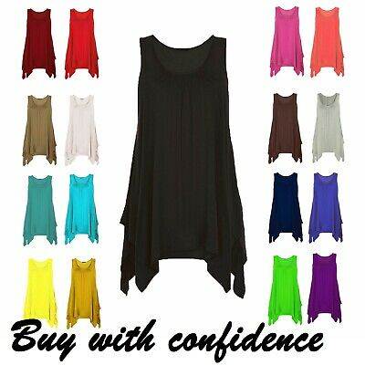Womens Hanky Top Gathered Ladies 18 20 22 24 Plus Size Vest Hem Flared Swing*Hnk