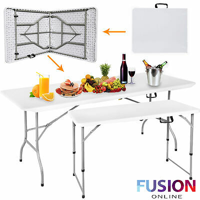 Heavy Duty Folding Table Portable Plastic Camping Garden Party Trestle 4FT & 6FT