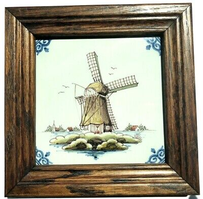 Vintage Makkum Tichelaars Handmade and Painted Delft Tile Holland Windmill Homes