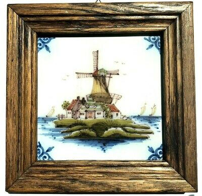 Vintage Makkum Tichelaars Handmade and Painted Delft Tile Holland Windmill Sails