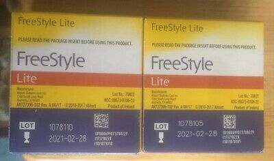 FREESTYLE LITE BLOOD GLUCOSE TEST strips--Expiration 2021-02 100 Count
