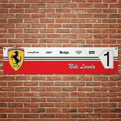 Niki Lauda Ferrari Banner Garage Workshop PVC Sign Track F1 Motorsport Display