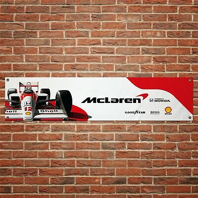 Ayrton Senna McLaren Banner Garage Workshop PVC Sign Track F1 Motorsport Display