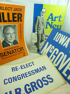 Vintage Iowa Republican Campaign Political Poster LOT Neu Jack Miller McGovern