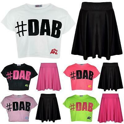 Kids Girls Crop Top #DAB Trendy Stylish Floss Fashion T Shirt & Skirt Set 5-13Yr