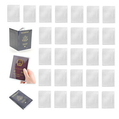 30Pcs Waterproof Plastic Passport Cover Clear Card Organizer Protector Case