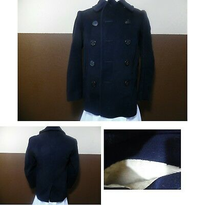 VTG MILITARY PEA COAT USN WWII 1940s Corduroy Pockets 10 Buttons Chin Strap S/M
