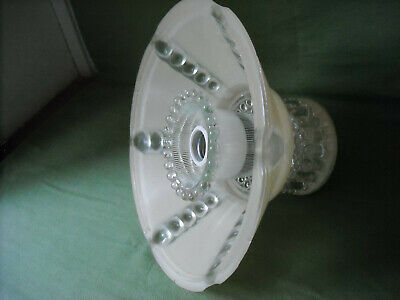 Antique Vtg Art Deco Clear And A Cream Color Glass Shade 30S Light Fixture