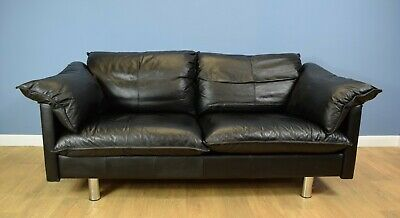 Mid Century Retro Danish Skalma Black Buffalo Leather 2.5 Seat Sofa Settee 1980s