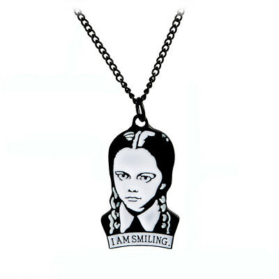 Wednesday Addams I Am Smiling Enamel Necklace Pendant Jewellery Film Gift Bag