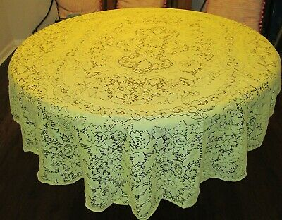 Vintage Yellow Quaker Lace Oval Tablecloth 58x78