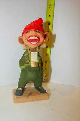Vintage Henning Norway Hand Carved Wood Troll Smiling With Green Jacket
