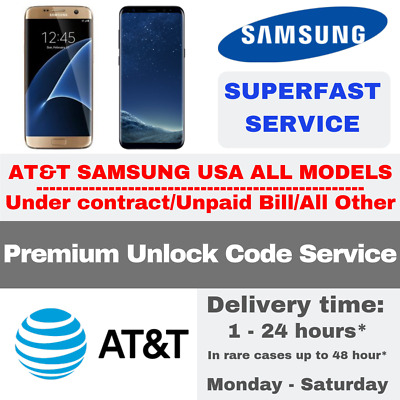 Unlock Code Service For At&T Samsung Galaxy S9 S8 S7 S6 Active & Edge Note 8 5 4