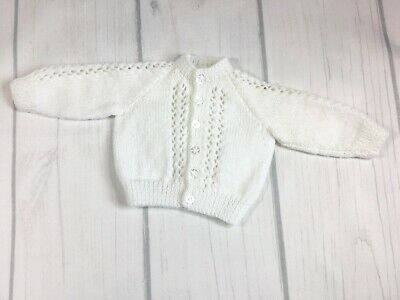 Hand Knitted Boys White Cardigan Premature/Tiny Baby