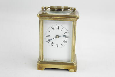Quality Heavy BRASS CARRIAGE CLOCK Key-Wind w/ White Enamel Dial (776g)