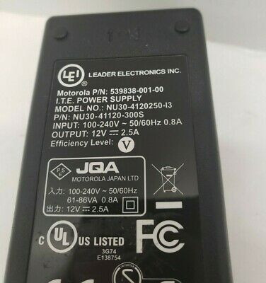 LEI Nu30-4120250-i3 12v 2.5a Power Adapter 41120-300S for Motorola