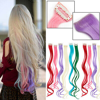 """Neon Colored Hair Extensions Real Long 10PCS Clip In Long 22"""" feels human Pink"""