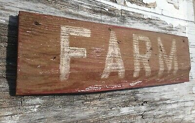 Old early Primitive antique farm chippy Barn wood red sign FARM house vintage