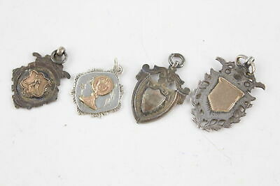 4 x Vintage Hallmarked Solid SILVER Pocket Watch Fobs Inc. Gold On Silver (26g)