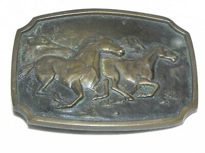 Vintage 1978 BTS Solid Brass Galloping Horses Belt Buckle USA Made