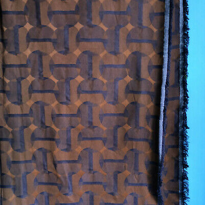"3-3/4 Yd Upholstery Fabric Reversible Jacquard Sharkskin Blue Brown 56"" Width"
