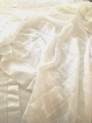 TABLECLOTH 60x102 elegant sheer ivory/cream w/ matching table runner