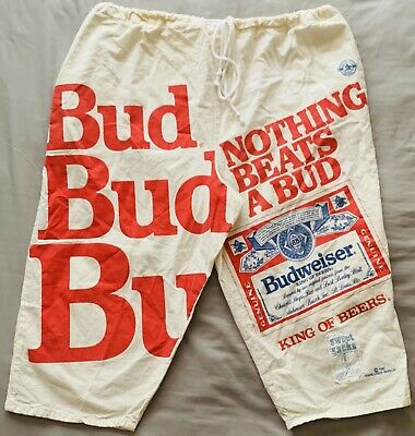 d7446e18cb295 Vintage Budweiser Sweet Sacks Linebacker Cotton Sugar Sack Beer Shorts 1991