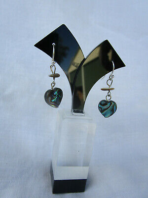 Vintage Sterling Silver and Paua Shell Heart Earrings 925