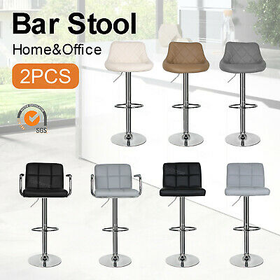 2 X HIGH QUALITY  Faux Leather Bar Stools Kitchen Breakfast Swivel Gas Lift UK