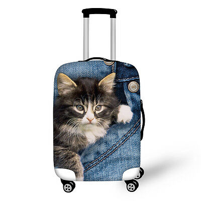 22/24 Inch Cat Printed Luggage Cover Spandex Travel Suitcase Protective Covers