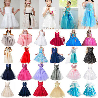 Wedding Sequin Mesh Flower Girl Dress Pageant Graduation Halloween Party B1508NF